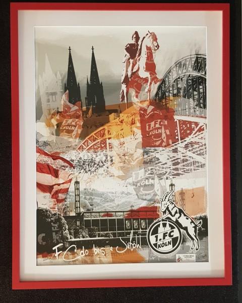 """1. FC Köln Edition Rahmung in """"Rut un Wiess"""""""