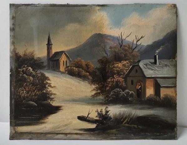 Gemäldereinigung - Berg und Kirche im Winter