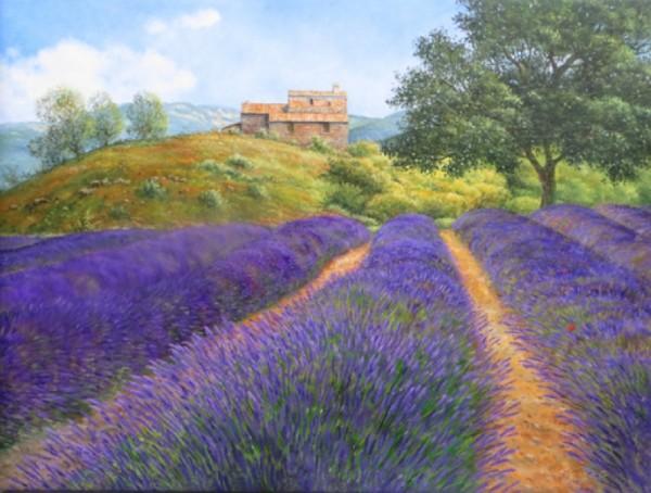 Eleonore Gagel Lavendelreihe mit Steinhaus