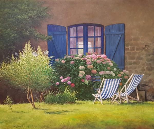 Eleonore Gagel Garten mit Liegestühlen