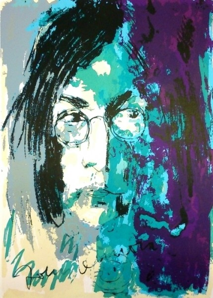 Unikat Armin Mueller-Stahl Tribute to John Lennon blau violett