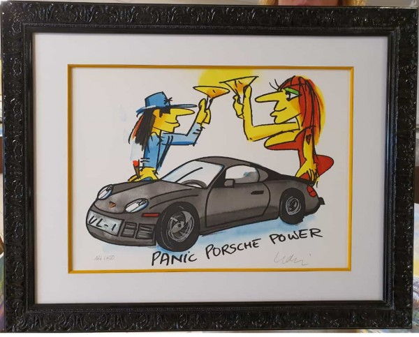 Udo Lindenberg - Porsche Panik Power im schwarzen Lack Barockrahmen