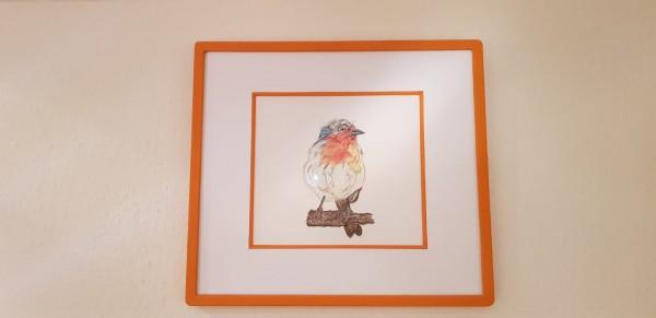 Handgemachter Farbsteinrahmen in orange - Vogel